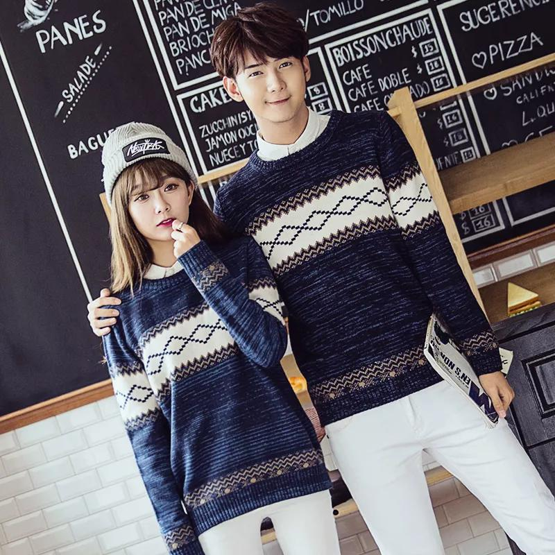 Fallwinter Korean Mens And Womens Pullovers Thickening Lovers Slim Collared Sweater