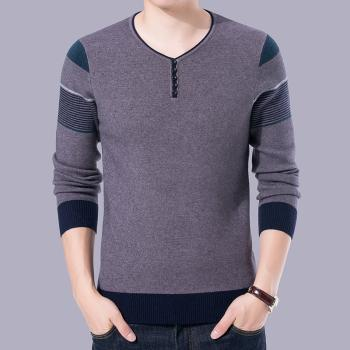 XQS Mens Long SleeveThicken Warm Knitted Pullover Crew Neck Sweater