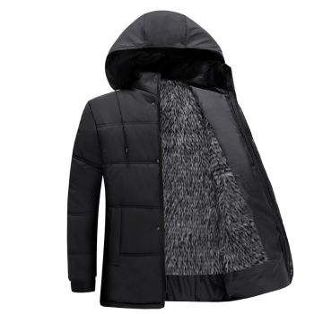 Qiangjinjiu Mens Padded Puffer Coat Thicken Down Jackets Hooded Outwear