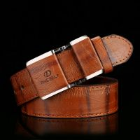 Fashion Simple Mens Belts Smooth Buckle Head Leather Belt Casual Youth Belt