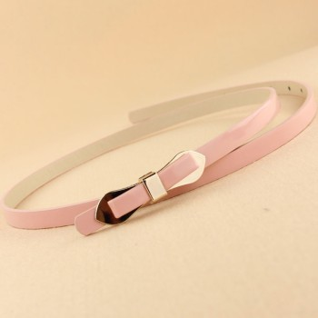Multi Layer Multicolour Bow Thin Neon Candy Japanned Leather Belt Strap